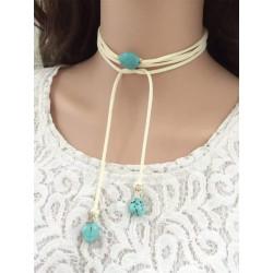 N-6504 Handmade Long Velvet Rope Leather Chain  Natural Turquoise Pendants Choker Necklace
