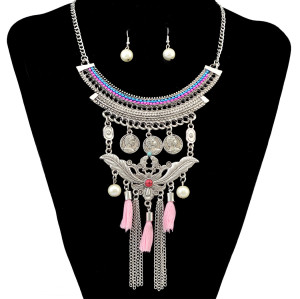 N-6508 Bohemian Turkish Ethnic Moon Shape Choker Resin Pearl Coins Pendant Necklaces Rope Chain Tassel Necklaces Earrings Set Jewelry