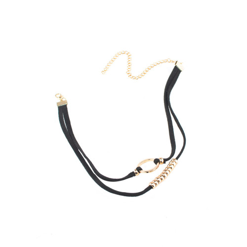 N-6509 Simple Design Double Black Leather Chain Silver Circle Beads Choker Bib Necklaces For Women Jewelry