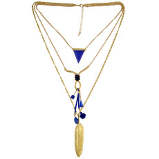 N-6381 Delicate Layering Pendant Muitilayer Chains Pendant Turquoise Necklace