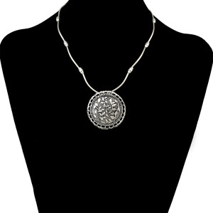 N-6505 Bohemian Vintage Silver Statement Necklace Carved Flower Turkish Round Shape Choker Necklaces Women Jewelry