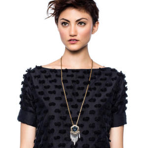 N-6506 Unique Design Gold Plated Inlay Gem Stone Rhinestone Geometric Shape Tassel Pendant Long Chain Necklace For Women Jewelry