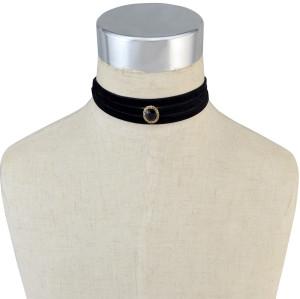 N-6516 Women Black Retro Velvet Crystal Collars Necklace Choker Long Clavicle Chain