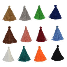 E-3898 100pcs 50mm Tassels Cotton Charms Pendant Imitation Silk Satin tassels for Earring Findings Jewelry