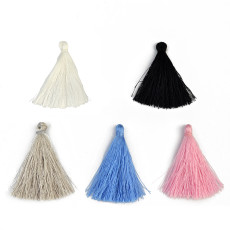 E-3900 100pcs/Pack Color Mixing 50mm Tassels Ployester Cotton Charms Pendant Imitation Silk Satin Tassels Jewelry