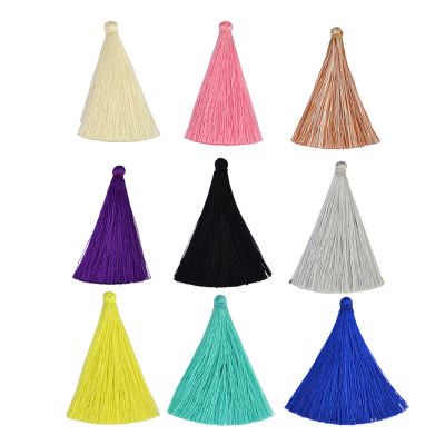 E-3901 100 pcs/lot  65mm Color-mixed Small Pendant Imitation Silk Satin Tassels DIY Findings Charms for Earring Necklace