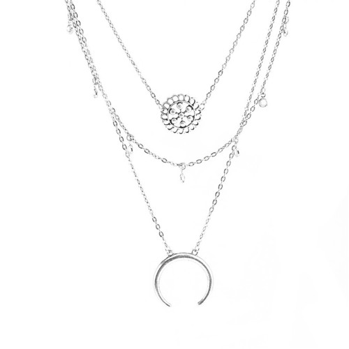 N-6526 European Fashion Silver Plated Choker Necklace Hollow Out Flower Crescent Pendant Necklaces Women Jewelry