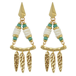 E-3905 Luxury Shell Beads Alloy Gold Plated Stud Drop Tassel Earring for Women 2 Colors