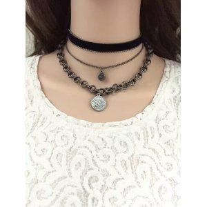 N-6527 3 Pcs/set Vintage Fashion  Black Leather Bronze Chain Coin Pendant Choker Short Necklaces For Women Girls Jewelry