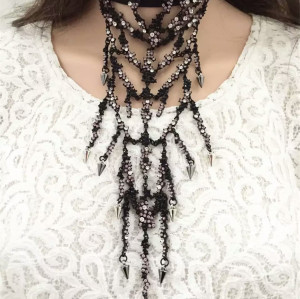 N-6528 Bohemian Silver Fashion Black Leather Necklace Inlay Crystal Rhinestone Tassels Pendant & Necklace For Women Jewelry