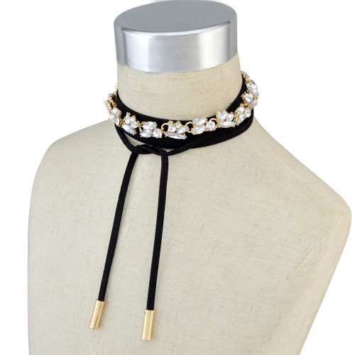N-6529 Korean Style Fashion Black Leather Gold Chain Grey Clear Crystal Choker Bib Necklaces For Women Girls Jewelry