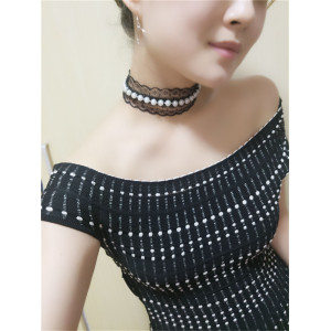 N-6525 Fashion Vintage Women Black Lace  Velvet Pearl Collars Necklace Choker Short Clavicle Chain