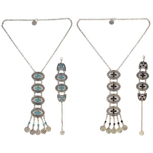 N-6530 B-0824 Bohemian Vintage Silver Inlay Resin Bead Coins Tassels Pendant Necklace Bracelets For Women Set Jewelry