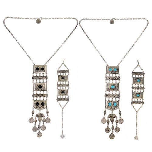N-6531 B-0825 Vintage Style Ethnic Tribal Silver Plated Alloy Inlay Resin Bead Geometry Shape Pendant Coins Tassels Fringe Pendant Long Necklace Bracelets For Women Jewelry Set