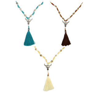 N-6533 Bohemian Handmade Rope Chain Wooden Beaded Shell Cattle Pendant Necklace Rope Tassel Necklaces For Women Jewerly