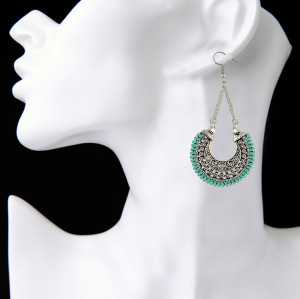 E-3907 Fashion Vintage Bohemian Style Silver Plated Carving Crysatl Dangle Earrings for Women Jewelry