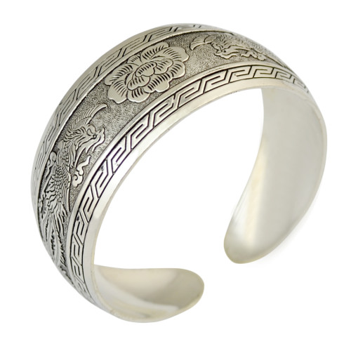 B-0821 Retro Silver Bangle Cuff Openable Adjustable Carved Phoenix Flower Wide Bangles