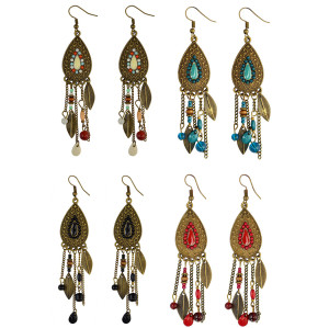E-3908 Boho Retro Brown Long Tassel Drop Beaded Charms Earring Fish Hook Dangle Earrings 4 Colors