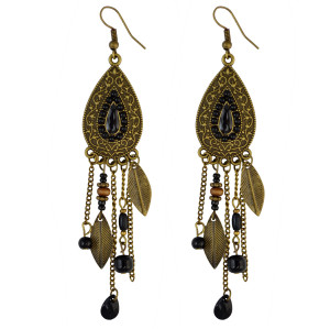 E-3908 * Boho Retro Brown Long Tassel Drop Beaded Charms Earring Fish Hook Dangle Earrings 4 Colors