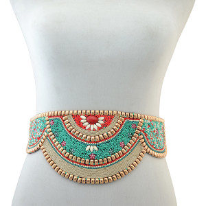 N-6541 Retro Charms Ethnic Beaded Elastic Strech Adjustable Belt Waist Belly Chain Body Jewelry