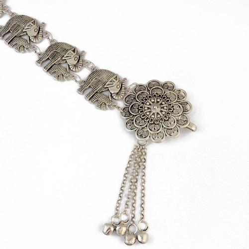 N-6538 Bohemian Silver Fashion Elephant Body Chain Bells Tassel Carved Hollow Out Flower Waist Belly Chain Women Jewelry