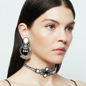 N-6544 Bohemian Vintage Silver Inlay Resin Crystal Collar Choker Necklace Dangle Earring Set For Women  Jewelry