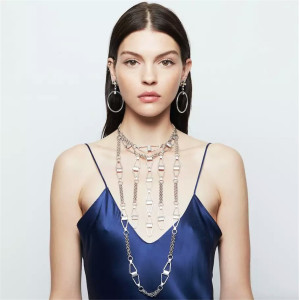 N-6546 Unique Design Fashion Silver Plated Alloy Chain Long Tassel Fringe Necklaces Hoop Earrings Jewelry Sets Women Accessory