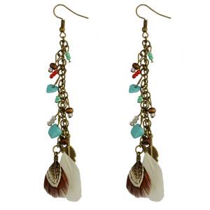 E-3910 Bohemian Retro Bronze Natural Stone Resin Beads Drop Earring Leaf Feather Tassels Hook Earrings For Women Jewelry