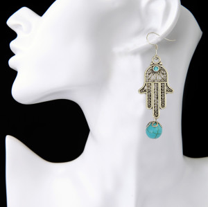 E-3912 New Arrival Silver Plated Alloy Hand Shape Dangle Earrings Turquoise Beads Drop Earrings Women Fashion Jewelry