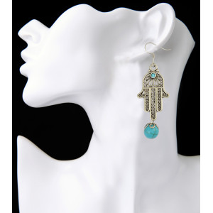E-3912 New Arrival Silver Plated Alloy Hand Shape Dangle Earrings Turquoise Beads Drop Earrings Women Fashion Jewelry