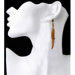 E-3913 Bohemian Handmade Long Tassel Feather Beaded Drop Dangle Earring Fish Hook Earrings for Women