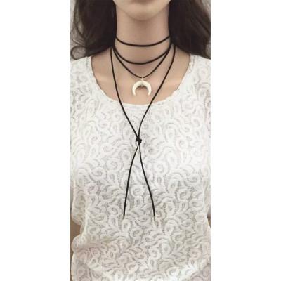 N-6554-New Design 2 Colors Artilady Velvet Multilayers Chains Moon Shape Rhinestone Pendant Long Necklaces Fashion Women Jewelry