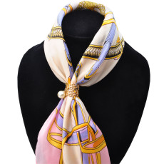 P-0348 Fashion Vintage Gold Silver Plated Alloy Pearl  Crystal Scarf Buckle Brooch Women & Girl Accessory