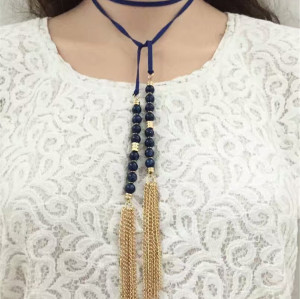 N-6551 3 Colors Fashion Long Chains Gold Tassle Rhinestone Pendant  Necklaces Fashion Women Jewelry