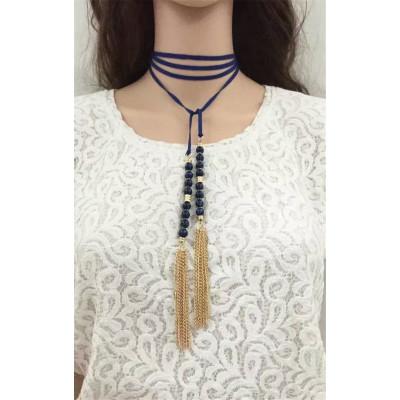 N-6551 3 Colors Fashion Long Chains Gold Tassle Rhinestone Pendant  Necklaces Fashion Women Jewelry