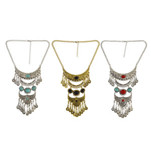 N-6559 Bohemian Statement Necklace Tibet Natural Turquoise Beads Long Tassel Pendant Crystal Necklaces
