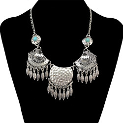 N-6557 Bohemian Silver Fashion Necklace Natural Turquoise Beads Tassel Pendant Necklace Women Jewelry