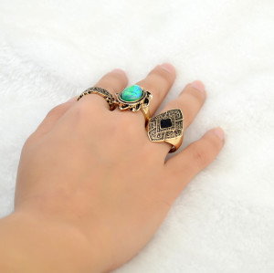 R-1418  3Pcs/Set Vintage Retro Silver Gold  Plated Alloy Carved Flower Inlay Resin Gem Knuckle Nail Midi Rings Set Jewelry For Women Accessory
