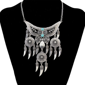 N-6563 Bohemian Statement Necklace Tibet Inlay Crystal Natural Turquoise Beads Hollow Out Flower Tassel Pendant Necklaces