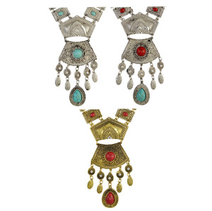 N-6568 Bohemian Necklace Inlay Crystal Natural Turquoise Beads Geometric Shape Carved Flower Tassel Pendant Necklaces