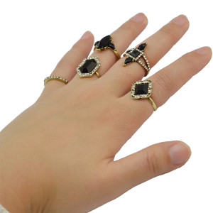 R-1422 5Pcs/set Bohemian Fashion Ring Rhinestone Resin Beads Knuckle Nail Midi Rings For Women Jewelry