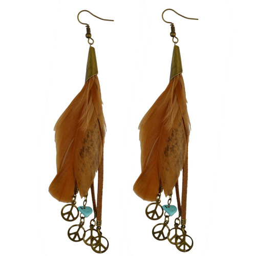 E-3921 Vintage Retro Style Bronze Plated Alloy Black Brown Feather Leather Chain Tassel Round Plates Dangle Drop Long Earrings For Women Girls Jewelry