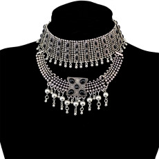 N-6575 Retro Boho Tribal Tassel Collar Bib Chain Chunky Pendant Statement Necklace Choker for Women