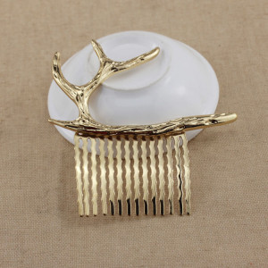 F-0378 Unique Design Fashion Gold Silver Plated Alloy Deer Horn Shape Hairclip Hair Clip Hair Accessory For Women Jewelery