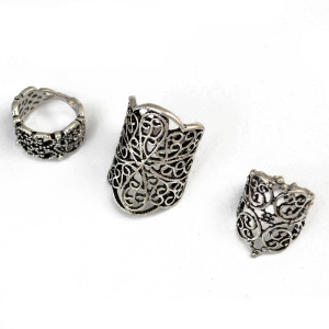 R-1421 3Pcs Ring set Bohemian Amazing Ring Flower Silver Knuckle Finger Rings For Women Jewelry