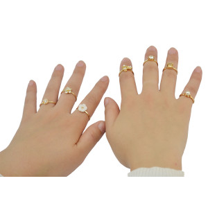 R-1423 Fashion Vintage Gold Joint Knuckle Nail Pearl Rhinestone Midi Ring Set Jewelry for Women
