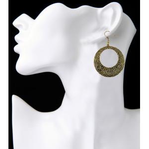 E-3917 Fashion Bohemia Vintage Alloy Silver Bronze Shinny Geometry Dangle Earrings for Women Jewelry