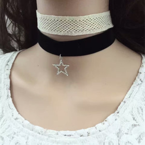 N-6573 3Pcs/set Simple Design Velvet Neckband Choker Necklace Rhinestone Stars Moon Shape Decration Necklaces For Women Jewelry
