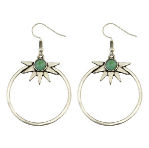 E-3922 Pair Amazing Bohemia Vintage Silver Hoop Sunshine Turquoise Earrings