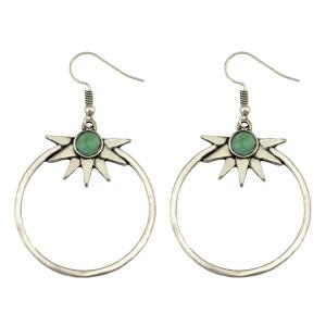 E-3922 Pair Amazing Bohemia Vintage Silver Hoop Sunshine Turquoise Earrings